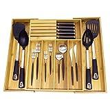 Taylor & Brown® allungabile/espandibile porta posate in legno, in bambù regolabile Kitchen Tidy cassetto con blocco portacoltelli