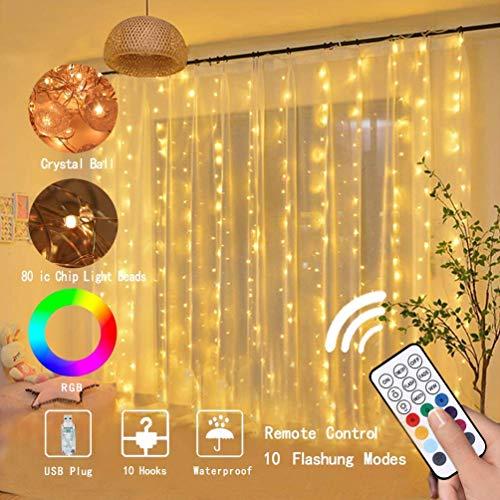 LEDGLE LED Lichtervorhang, Lichterkette Wasserfall, USB Lichterkettenvorhang, IP67 Wasserdicht, 10 Modi, Lichterkette für Partydekoration deko Schlafzimmer, Lnnenbeleuchtung, Warmweiß