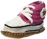 Baobab Schuhe, handgehäkelte Baby Bio Sneaker mit rutschfester Wild-Ledersohle, 21-24 Monate (Pink4)