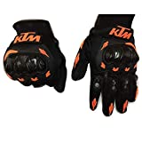 #7: Genxtra KTM Motorcycle Riding/ Safety Gloves (Orange and Black_X-Large)