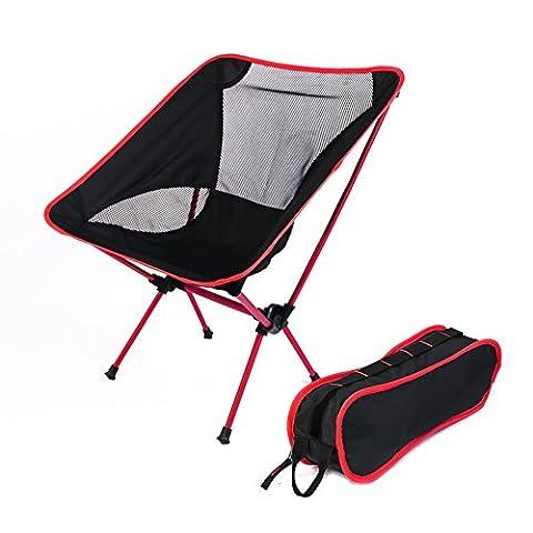 Blackhumor Chaise pliante portable, léger, randonnée pliable inclinable de plage avec sac de transport, convient pour un usage intérieur/extérieur/camping/randonnée/voyage/pêche/Navigation/pique-nique, etc., Red
