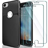 Cover iPhone 6 + [2 Pack] Vetro Temperato iPhone 6S , ivencase Custodia iPhone 6 / 6S TPU Silicone Case Custodia Shock-Absorption Bumper e Anti-Scratch Back per iPhone 6 / 6S - Nero