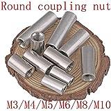 GZN-CUNTS, 5pcs M4 M5 M6 M8 M10 Lunga Asta di accoppiamento Tondo Dado Discussione 304 in Acciaio Inossidabile Dado for collegare Il Cavo Strumento Vite (Taglia : M10x30)