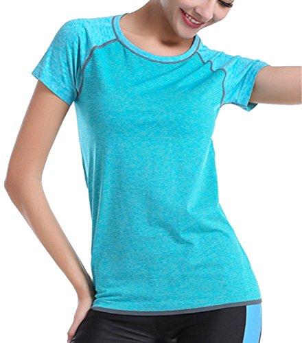 Brinny femme shirt T-shirt de jogging à manches courtes femmes sports d'été vêtements de yoga séchage rapide shirt Bleu