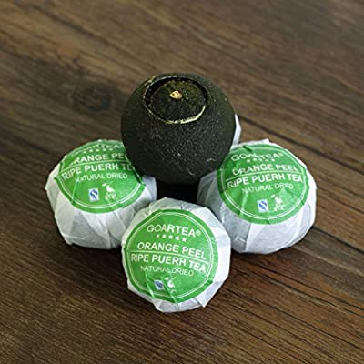 GOARTEA 100g (3.5 Oz) Nonpareil Supreme Natural Dried Xinhui Green Orange Peel ChenPi Citrus Puer Pu'er Puerh Pu erh Ripe Tea