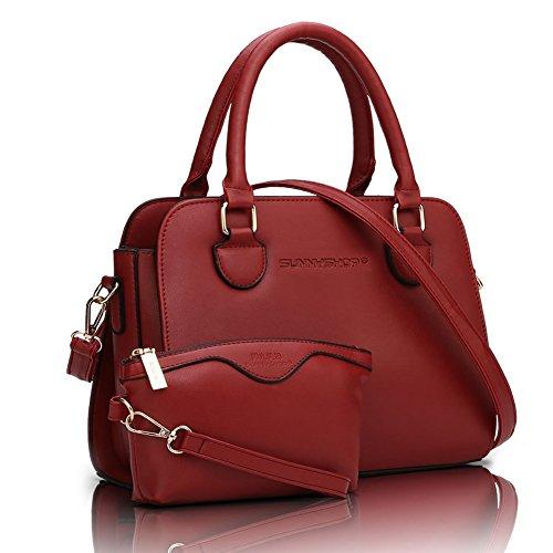 Schultertasche Tasche rot Large set Handtasche Entwerfer Damen fanhappygo Henkeltasche Shopper Umhängetasche qUw4PTP