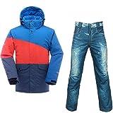QZHE Combinaison de ski Imperméable Ski Suit Hommes Montagne Veste De Ski + Pantalon De Snowboard Respirant Hiver Neige Manteau De Motoneige, S