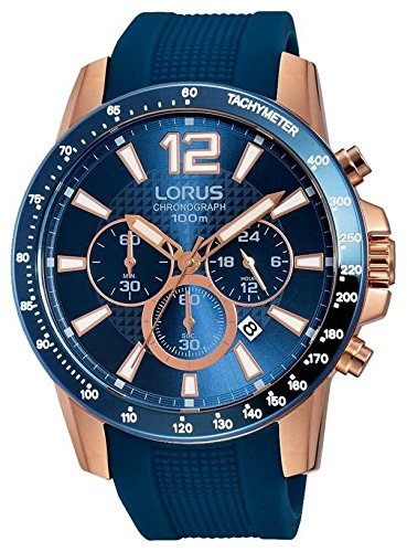 Lorus Montre Homme Bleu Sangle en silicone rt392ex9or rose