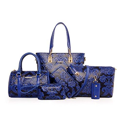 Coolives Damen Handtaschen Set Klassische Blume Prägen 6 Stück aus PU-Leder Blau EINWEG -