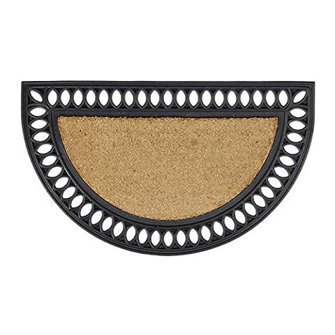 Relaxdays Wetterfeste Fußmatte Kokos halbrund mit Gummi in Gusseisen-Optik als Türvorleger und Schmutzfangmatte witterungsbeständig rutschfest als Gummimatte HBT: 2 x 75 x 45 cm, natur und schwarz