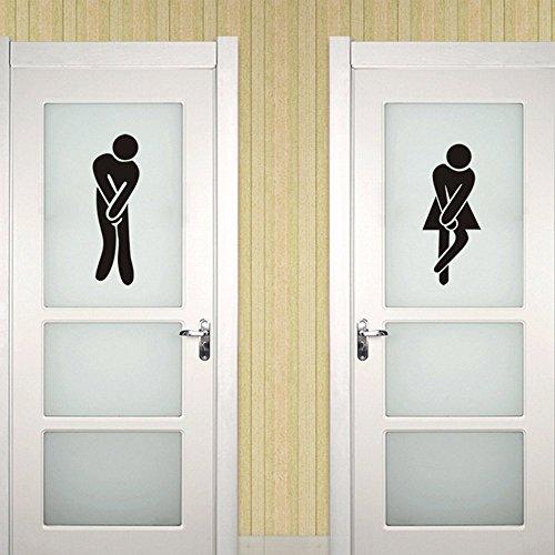 Lustige Unisex Pipi Lounge Wc Aufkleber Schwarz Tür Wandaufkleber Abnehmbare DIY Inyl Wandtattoos Male & Female Logo Restroom Eingang Gemeinsamen Gebrauch Komfort Zimmer für Männer Und Frauen