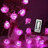 JMEXSUSS Timer 8 modos de control remoto 30 LED batería rosa flor rosa 16.4 pies de cadena de luces de hadas para San Valentín decoración dormitorio de bodas decoración de Navidad de jardín (rosa)