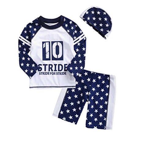 HUPLUE Baby Boys Girls Long Sleeve Rash Guard Swimsuits Two Piece Bathing Suits with Swimming Cap Swimwear