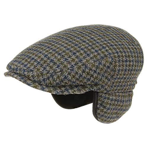 Stetson kent wool coppola paraorecchie uomo   made in germany berretti piatti cappello piatto beanie da con visiera, paraorecchie, fodera autunno/inverno   l (58-59 cm) grigio