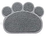 New Pet Feeding Mat Paw/Straight,Dog/Puppy/Cat/Kitten PlaceMat/Dish/Bowel, PVC ( 2 design . 2 colors ) (Paw Shape, Grey)