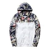 Fangcheng Herren Blumen Druck Bomberjacke Slim Fit Sport Jacke Outwear Stehkragen mit Kapuze Freizeitkleidung Übergangsjacke Winterjacke
