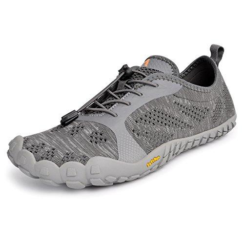 Troadlop Herren Barfußschuhe Badeschuhe Outdoor Fitnessschuhe Breathable Fünf Finger Schuhe Grau 39