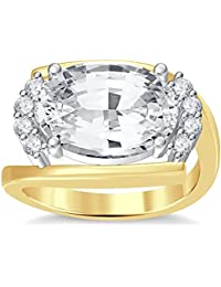 Silvernshine 4Ct Oval & Round Cut Sim Clear Diamonds 18K Yellow Gold Plated Engagement Ring