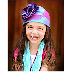 Blue Pink Purple Tie Dye Hat with Purple Large Rose, Size: 4-6y