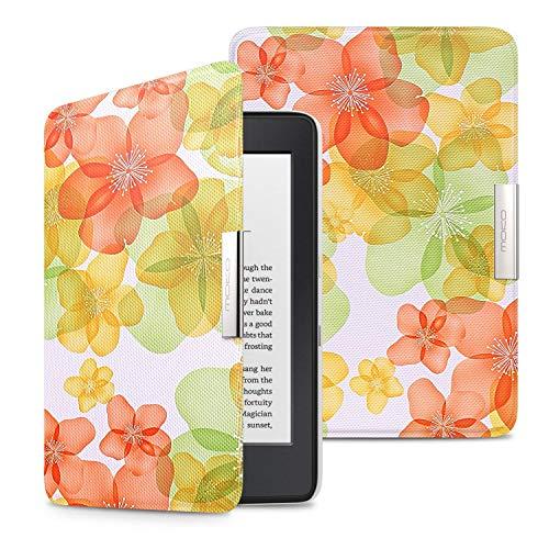 MoKo Kindle Paperwhite Hülle - Ultra Leightweight Slim Schutzhülle Smart Cover mit Auto Sleep/Wake Funktion, Nicht Kompatibel für All-New Paperwhite 10th Generation 2018, Blumen-Grün