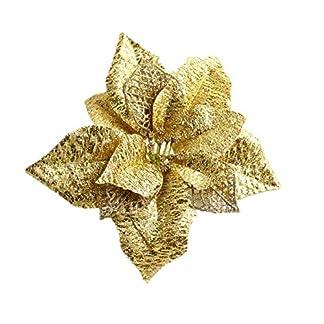 VI. yo Pascua flores Wedding Party Decor purpurina wreth de árbol de flores de Navidad adornos de árbol de Navidad, plástico, Gold*20cm, Large