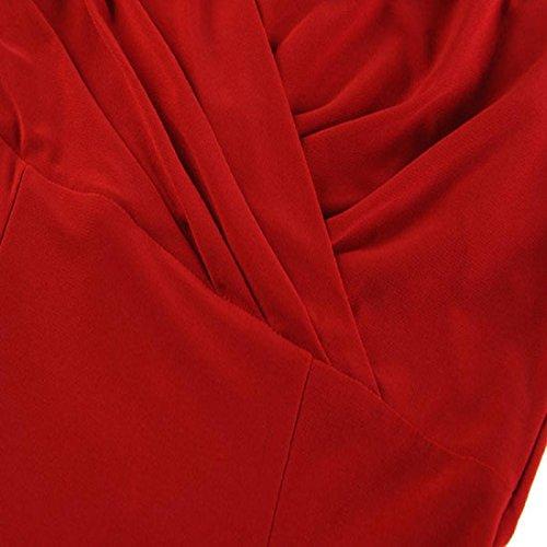 OverDose,Femmes Sexy Robe Col En V Bandage Cocktail FêTe Bodycon Robe De SoiréE Rouge