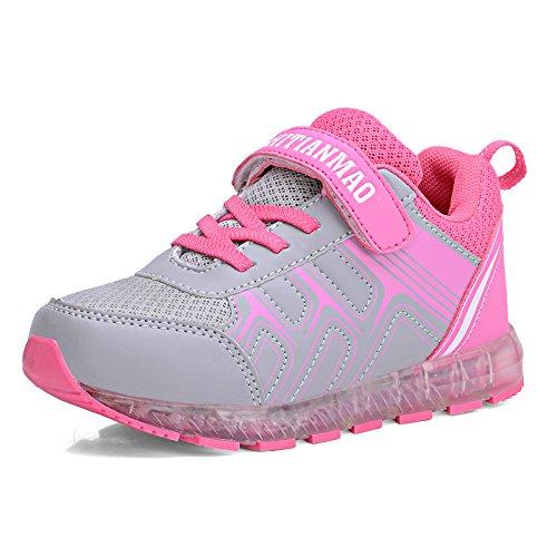 [Kinder Led Schuhe] Kidslove Led schuhe kinder Winter Ledschuhe LED Sportschuhe Kinder USB Aufladen 7 Lichtfarbe Leuchtend Kinderschuhe PU Winter Sneaker Turnschuhe für Jungen Mädchen Pink