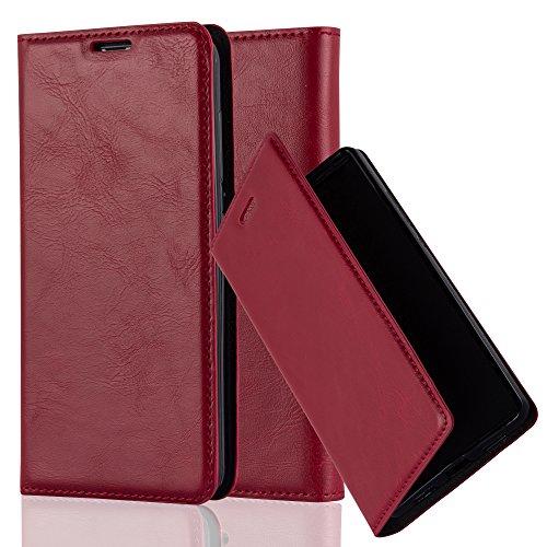 Cadorabo Hülle für Nokia Lumia 535 - Hülle in Apfel ROT – Handyhülle mit Magnetverschluss, Standfunktion und Kartenfach - Case Cover Schutzhülle Etui Tasche Book Klapp Style