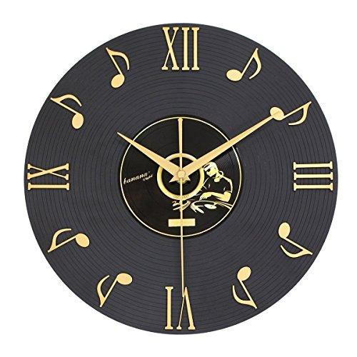 SunBeter 3D Notas musicales y números romanos Registro de vinilo Reloj de pared Diseño de interiores Decoración para el hogar Regalos perfectos para amantes de la música 12 pulgadas
