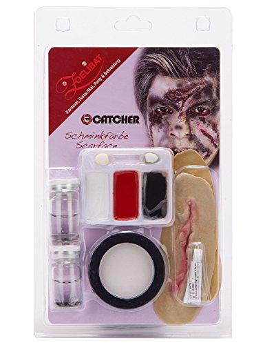 Schmink Set Scarface mit Kontaktlinsen Makeup Narbe Haarkreide