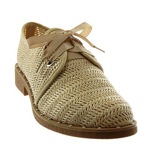 Tréssé Clouté Derbies Chaussure Angkorly Lacet Satin Bloc CM Talon Beige Mode 3 Ruban Femme xTnInXU