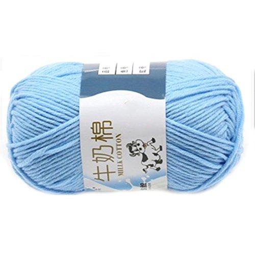 Glatte weiche Milch Cotton Natural Hand Strickwolle Garn Ball Baby Wool Craft Hellblau (Wolle Stil Schal)
