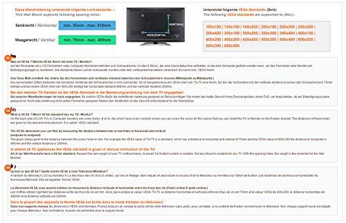 RICOO LCD TV Ständer FS0502 Standfuss Glas Standfuß Fernsehstand LED Fernseher Stand Halterung Schwenkbar Drehbar mit Rollen Möbel Rack max. VESA 400×400 Universal inkl. DVD Receiver Glas Regal Ablage - 5