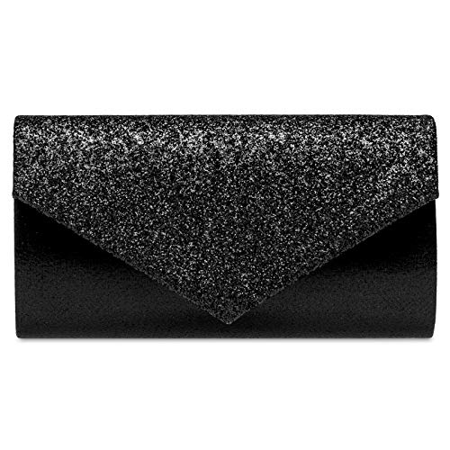 Schwarze Clutch (Caspar TA517 Damen kleine elegante Envelope Glitzer Clutch Tasche Abendtasche, Farbe:schwarz, Größe:Einheitsgröße)