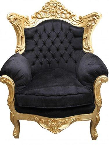 Casa Padrino Barock Sessel 'Al Capone' Mod 2 Schwarz/Gold Möbel Antik Stil -