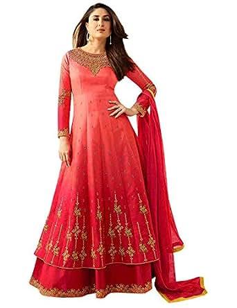 Stylish Fashion Women's Georgette Salwar Suit(FFVINAYKAREENA-6183_Red_XX-Large)