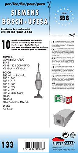 SB 8 sacchetti per scopa elettrica confezione da 10 sacchi carta