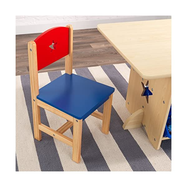 KidKraft 26912 Star Wooden Table & 2 Chair Set with storage bins, kids children's playroom / bedroom furniture - Red & Blue KidKraft Four convenient storage bins Bins can be reached from either side of table Star-shaped holes on table and chairs 11