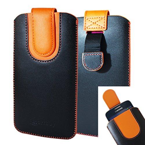 emartbuy Schwarz/Orange Premium-Pu-Leder-Slide In Case Abdeckung Tashe Hülle Sleeve Halter (Größe E) Mit Zuglaschen Mechanismus Geeignet Für Die Unten Aufgeführten Smartphones