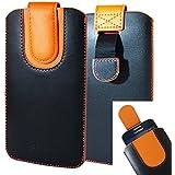Emartbuy Schwarz / Orange Premium PU Leder Slide in Pouch Case Cover Hülsenhalter Hulle ( Größe LM2 ) mit Pull Tab Mechanismus Geeignet Für Smartphones Aufgeführt Unten