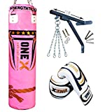 Women Punch Bag 4ft Heavy Filled Punching Set Pink Ladies Kick Boxing MMA Training Muay Thai 9PCS By Onex