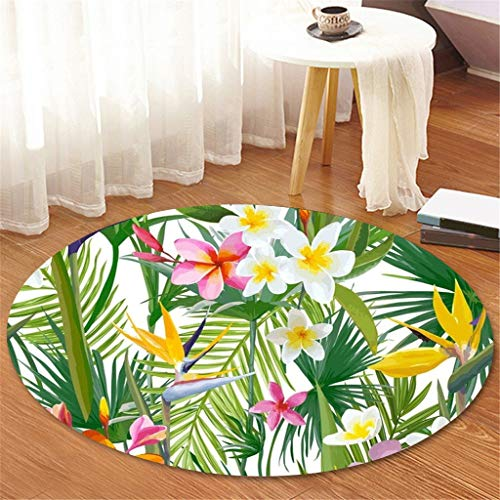 Scrolor Teppich Elegant Tropische Pflanzenblätter Muster Runder Teppichunterleger Flanell Komfortabel Hochwertiger Bad Küchenteppich (Durchmesser 100cm)