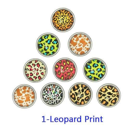 WMING Home Niedliche Modeschmuck Geschenk 10 Stücke Gemischt Mini Glas Druckknöpfe für Armband Anhänger Niedliche Dekoration Schnappt (Color : Leopard Print)