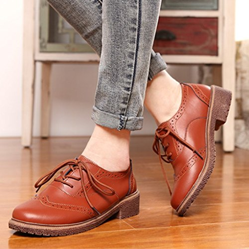 Oxford Schuhe Retro Mit Braun Schnürhalbschuhe Dicken Clode® Damen XqgU5U