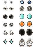 Set mit 12Paar Ohrringen in böhmischen, Retro- und Vintage-Stil, verschiedene Ohrstecker für Frauen und Mädchen
