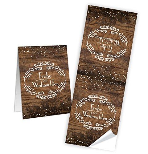 """Preisvergleich Produktbild 25 Aufkleber Sticker """"Frohe Weihnachten"""" in weiß auf Holz mit Schnee (5 x 14 cm) - Etiketten Banderolen zum Verschließen und Dekorieren; 1a-Qualität"""