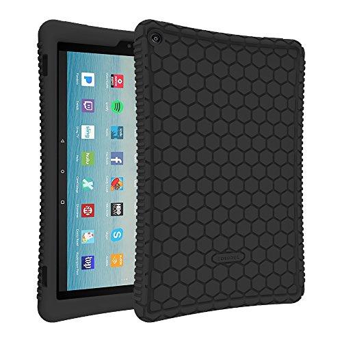Fintie Silikon Hülle Fire HD 10 Tablet (7th Gen.- 2017 Modell) - Leichte Rutschfeste Stoßfeste Silikon Tasche Case Kinderfreundliche Schutzhülle für 2017 Amazon Fire HD 10 (Schwarz)