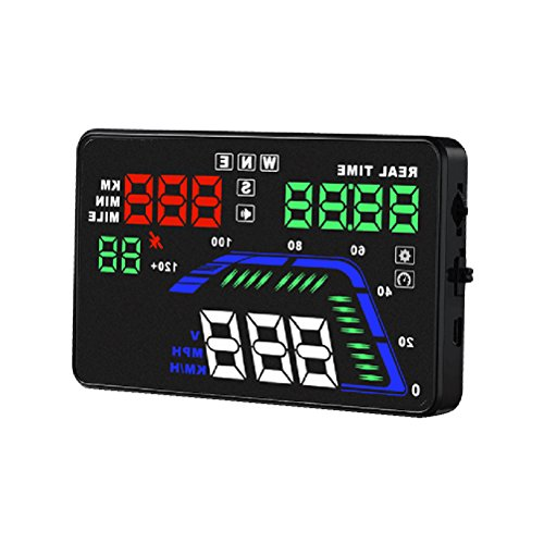 VORCOOL Q7 Universal Auto 3 Zoll HUD Head Up Display Digital Auto Tacho Windschutzscheibe Projektor Auto OBD mit Überdrehzahl Alarm RPM MPH - Gps-auto-tacho