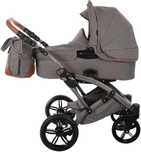 Knorr Baby Voletto Premium grau 3287-1 2in1 Kombikinderwagen / Kinderwagen Set mit Babywanne und Buggy Sportwagen Aufsatz