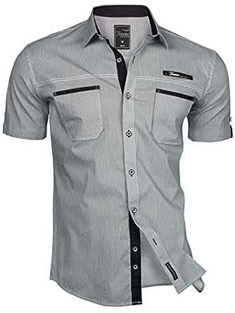 TRISENS–Camicia da uomo, a maniche corte, slim fit, estiva, in cotone, stile polo grigio scuro 46